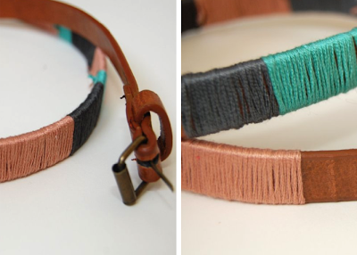 DIY Color Blocked Thread-Wrapped Belt