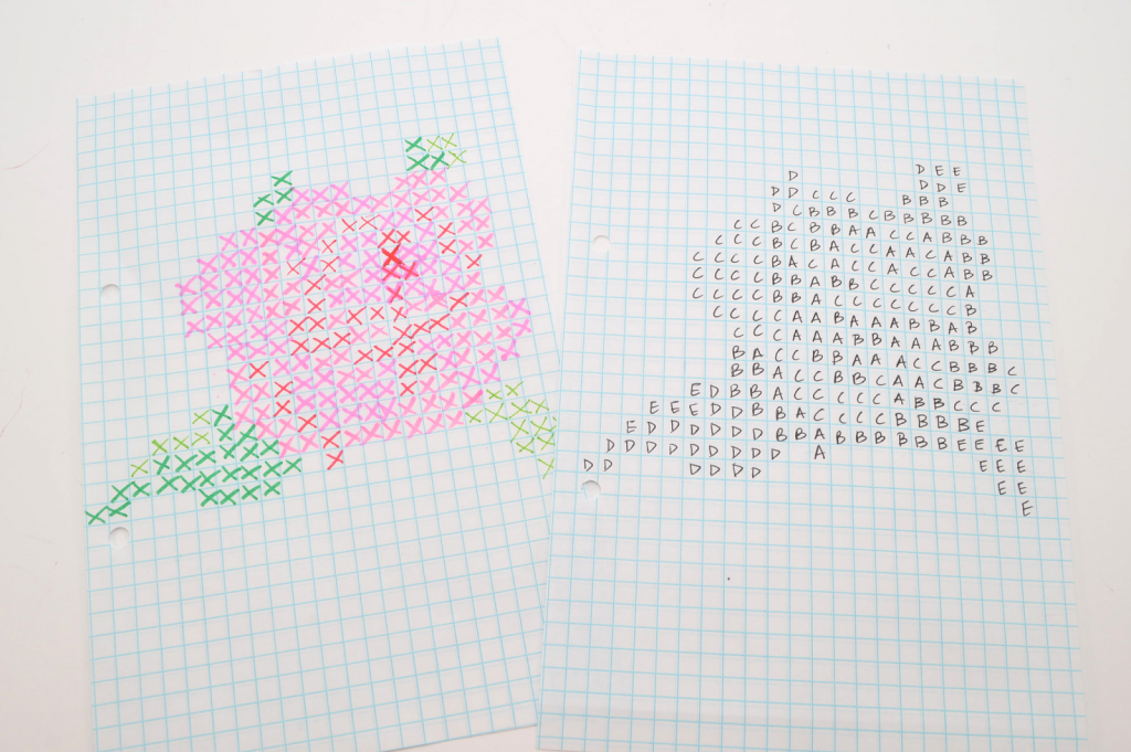 This Is What The Template Was Created From. On Graph Paper, I Planned Out  The Rose Design Using Markers (left). This Was The 3rd Or 4th Version, ...