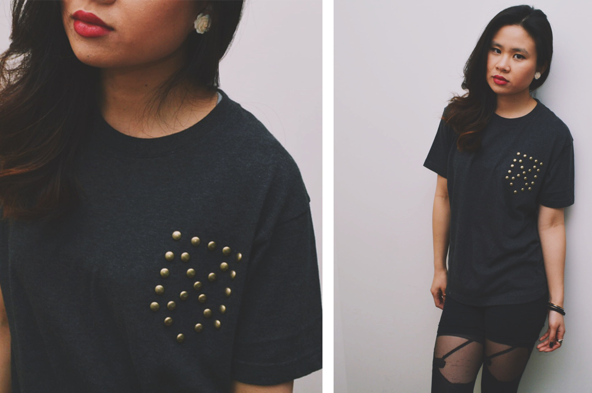 DIY Faux Studded Pocket Tee
