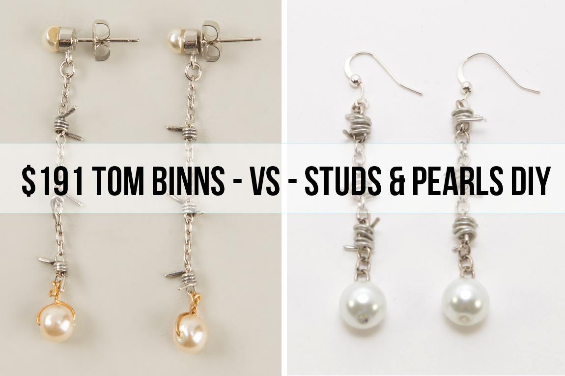 diy: Barbed Wire Pearl Drop Earrings (Tom Binns Inspired ...