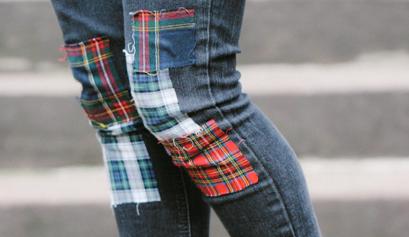 DIY Plaid Patchwork Jeans