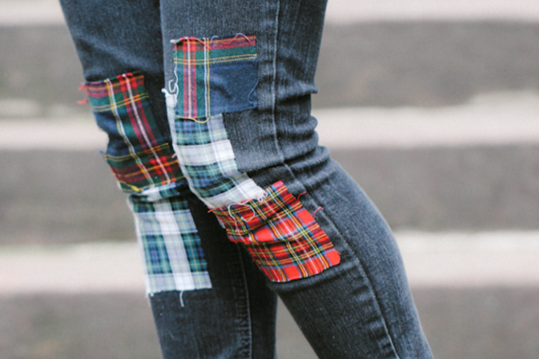 DIY Plaid Patchwork Jeans