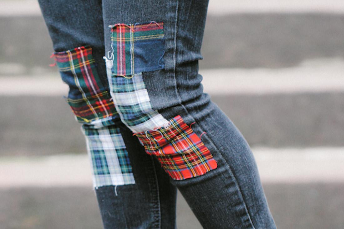Diy Plaid Patchwork Jeans Wild Amor