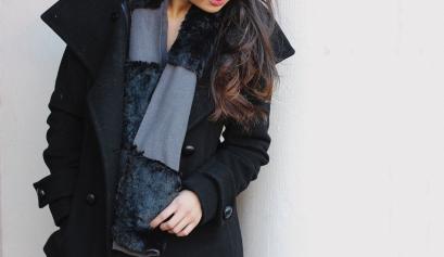 Fleece Faux Fur Panel Scarf