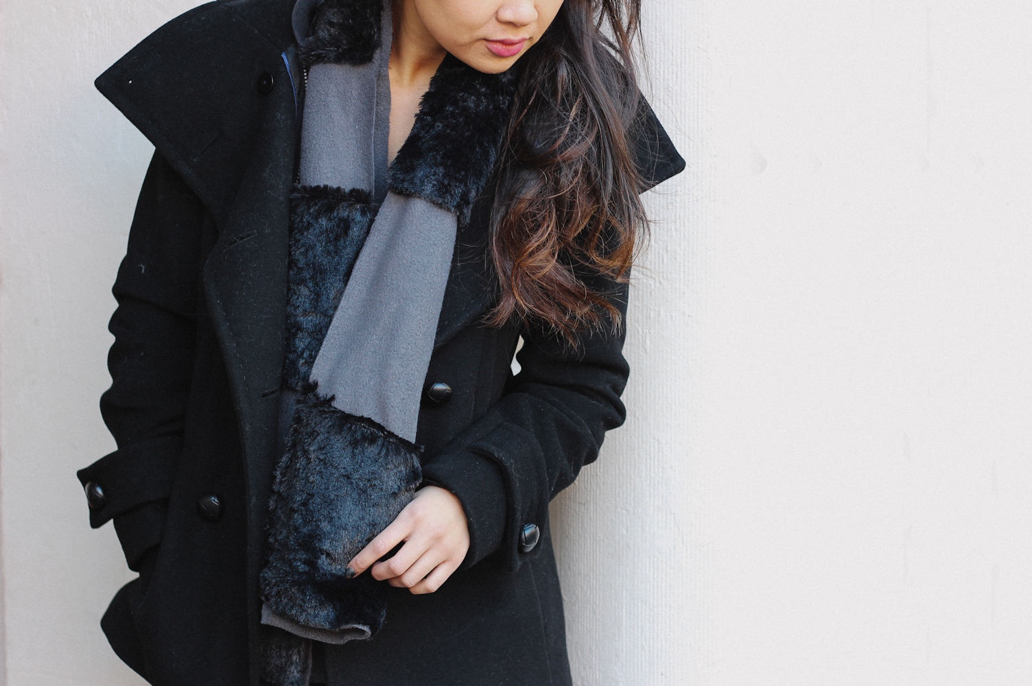 Fleece Faux Fur Panel Scarf