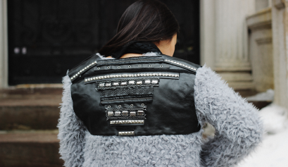 Studded Panel Faux Fur Jacket