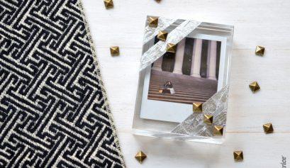 DIY Studded Metallic Block Photo Frame