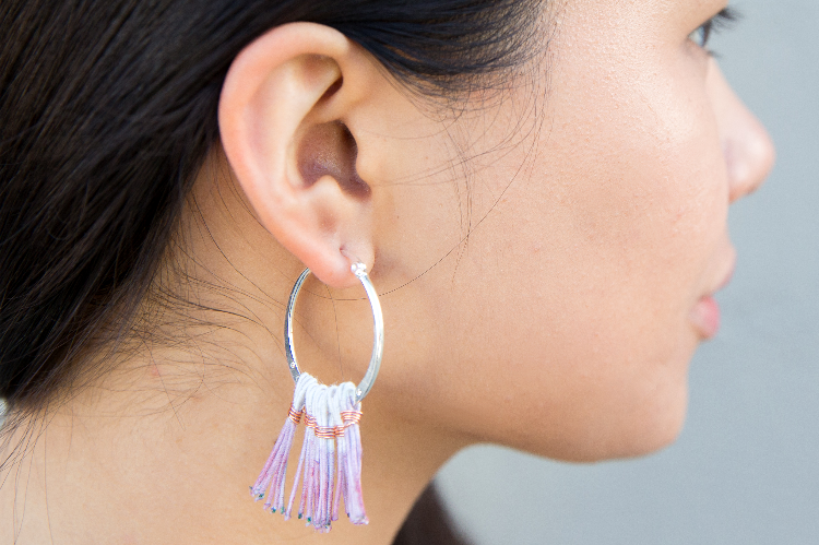 DIY Ombre Fringe Hoop Earrings