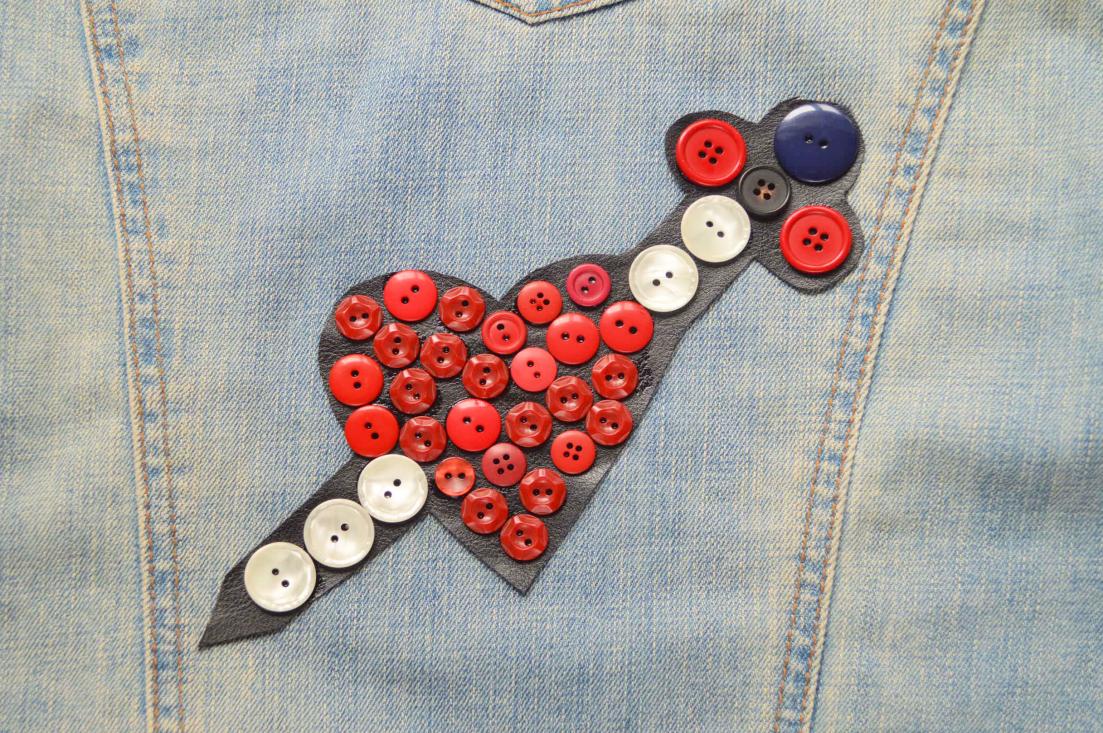 DIY: Gucci-Inspired Button Heart and Sword Patch