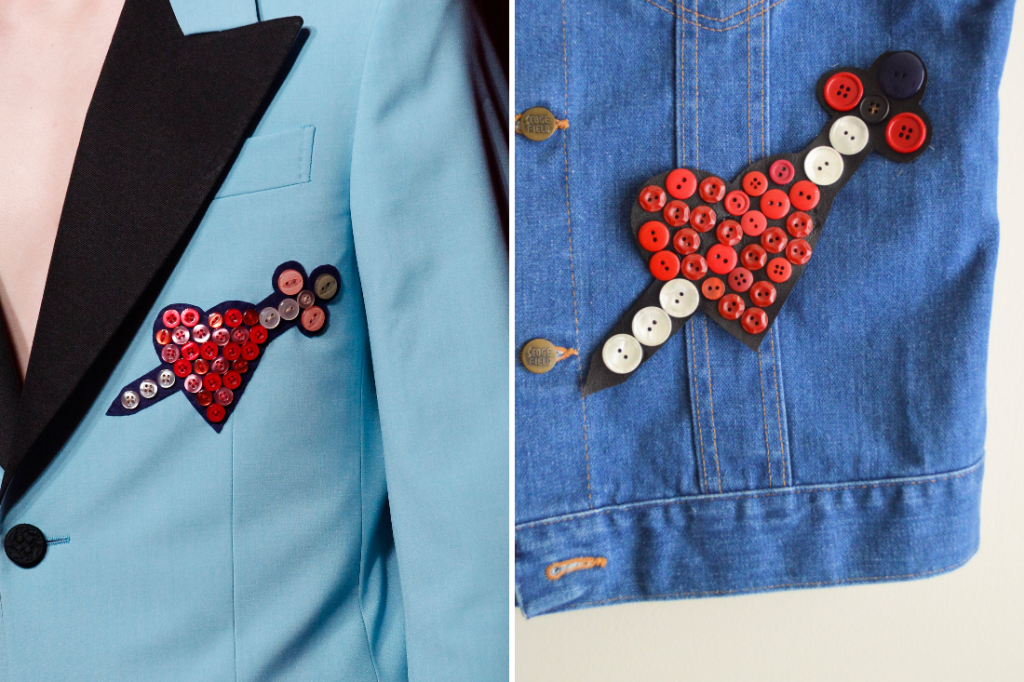 DIY: Button Heart and Sword Patch (Gucci-Inspired)