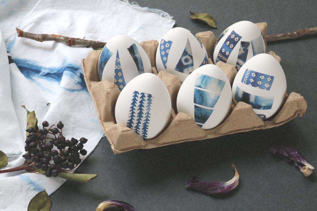 DIY: Geometric Indigo Shibori Easter Eggs