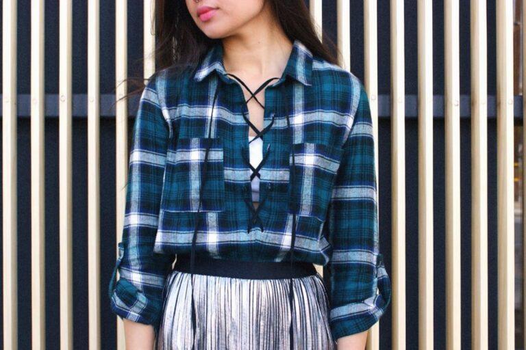 DIY: Lace-Up Plaid Shirt