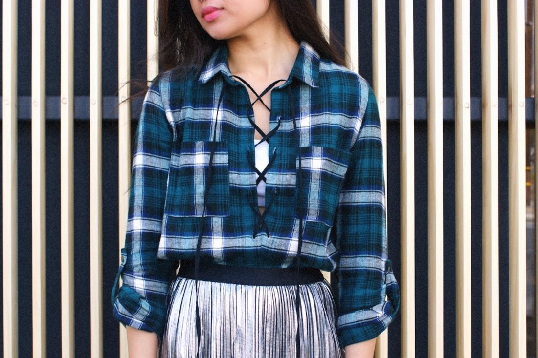DIY: Lace-Up Plaid Shirt