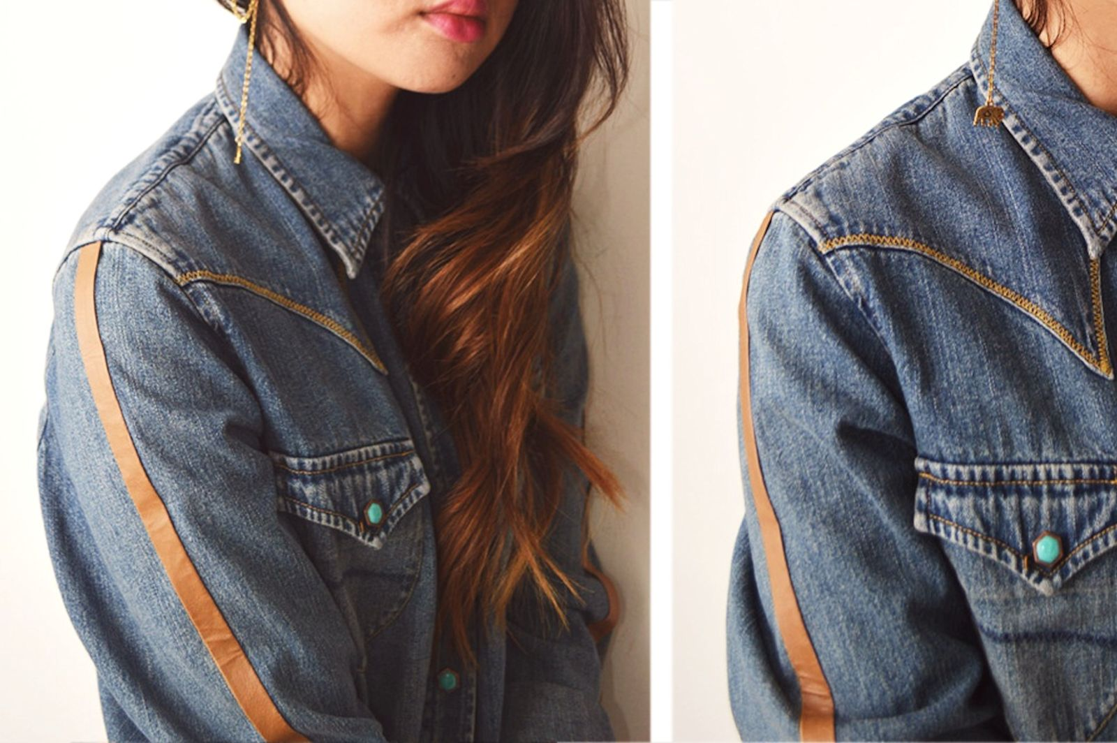 DIY: Leather Trim Denim Shirt