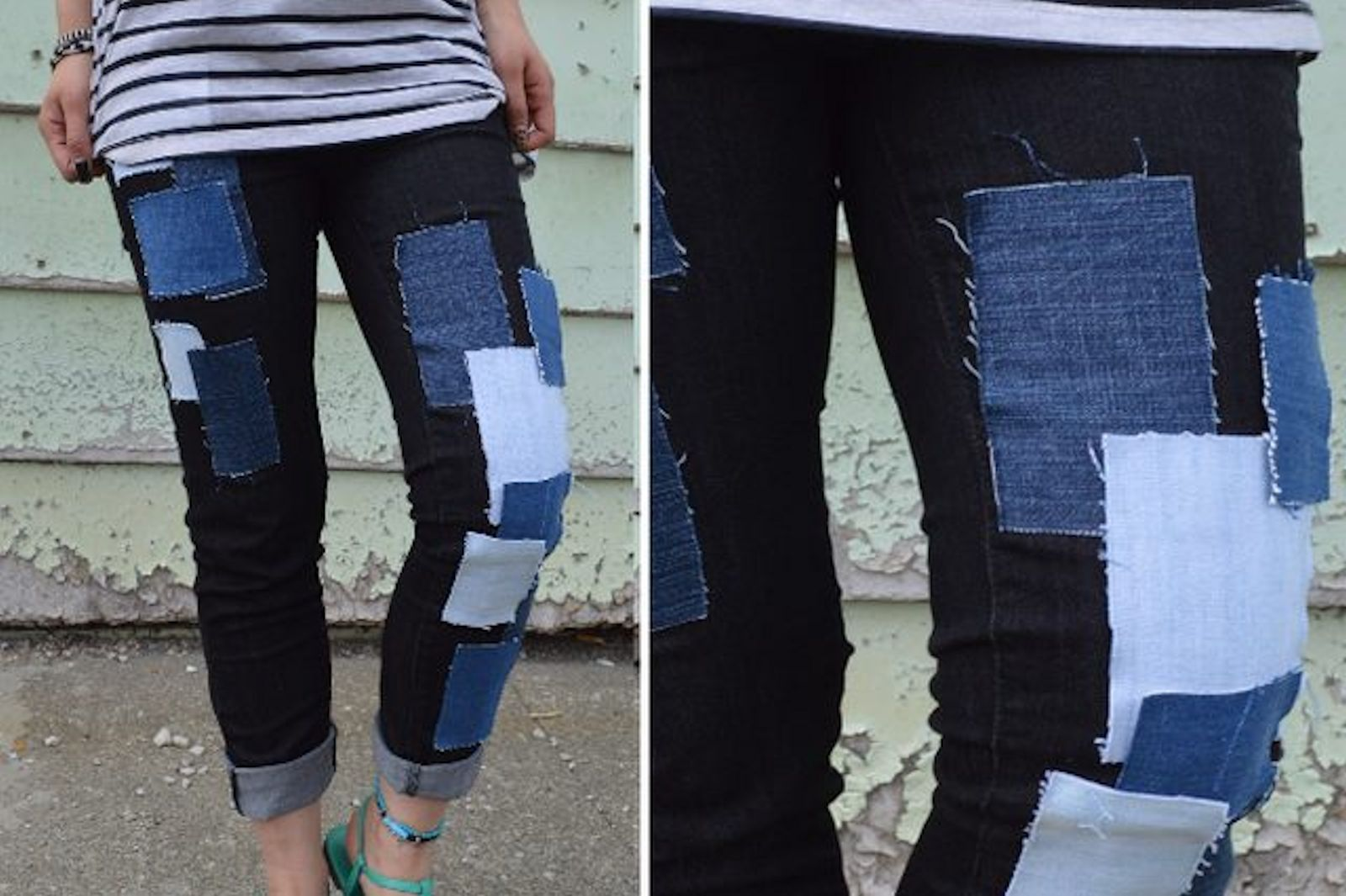 DIY: No-Sew Patchwork Jeans