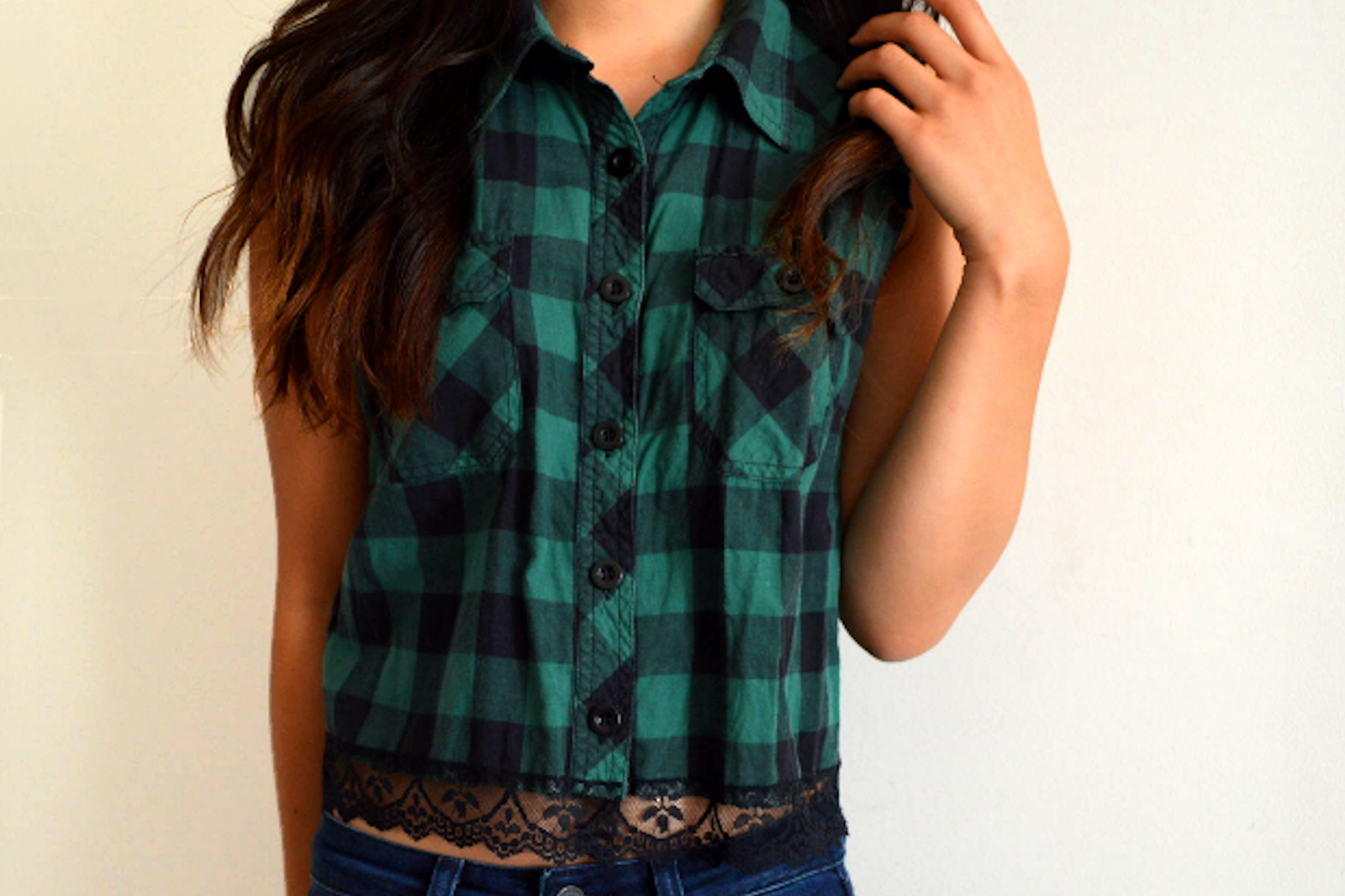 DIY: Lace Trim Plaid Top