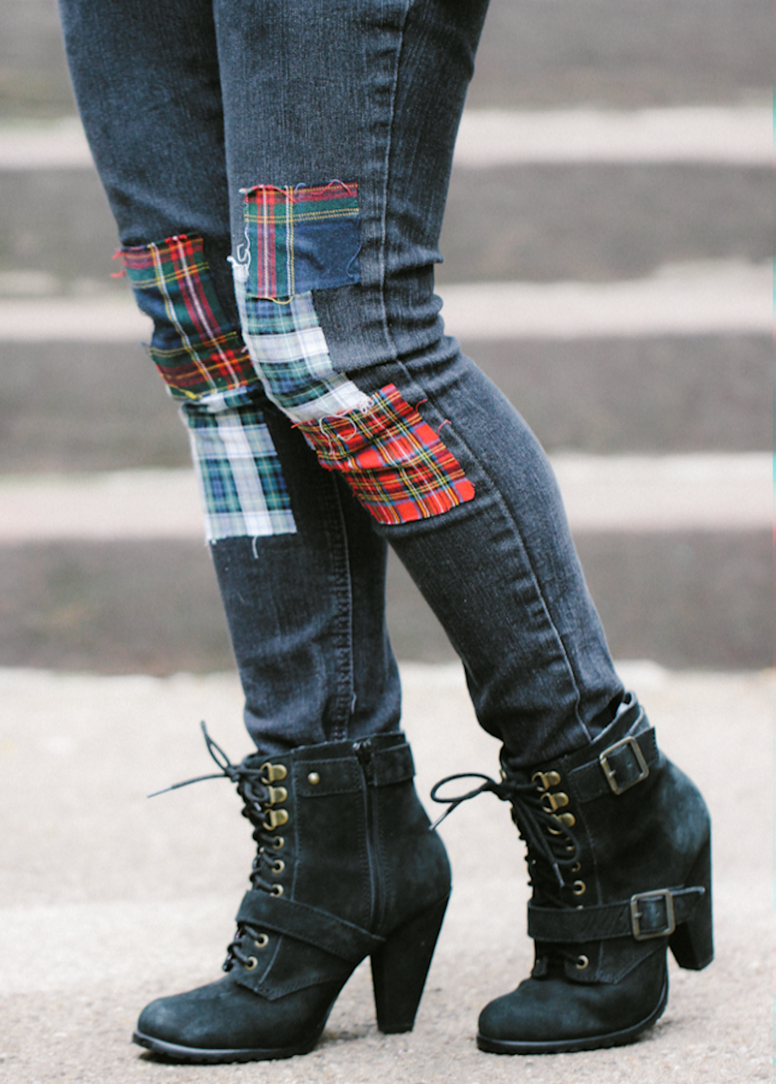DIY: Plaid Patchwork Jeans
