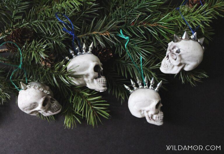 DIY Studded Mohawk Skull Ornaments