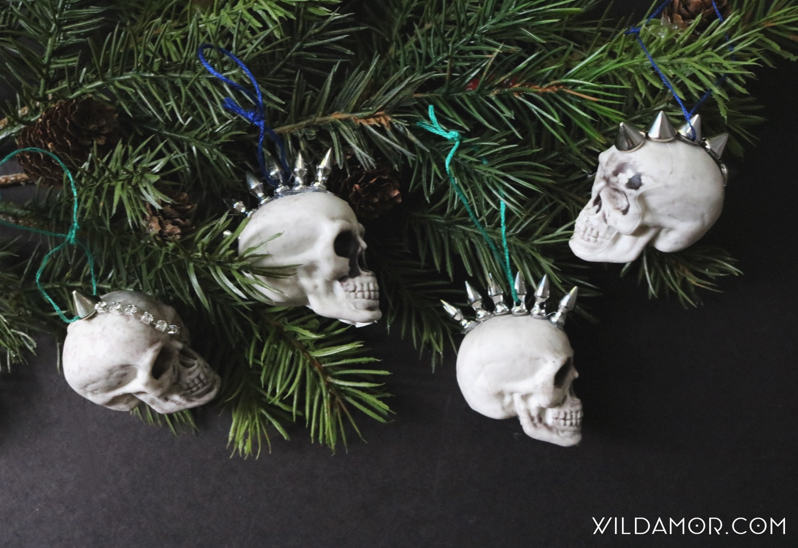 DIY Studded Mohawk Skull Ornaments