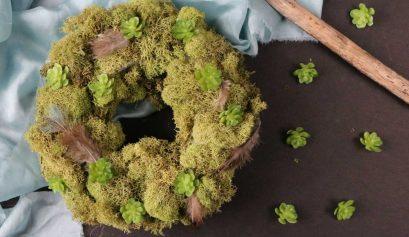 DIY Succulent & Feather Moss Wreath