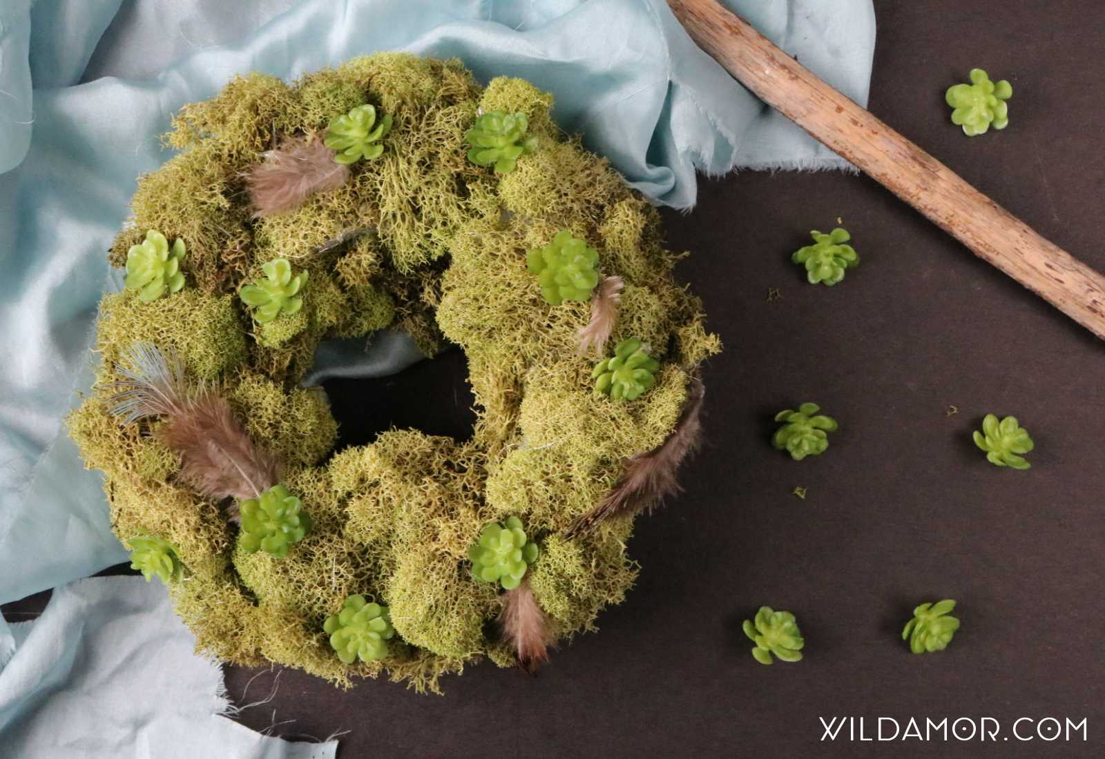 DIY Succulent & Feather Moss Wreath