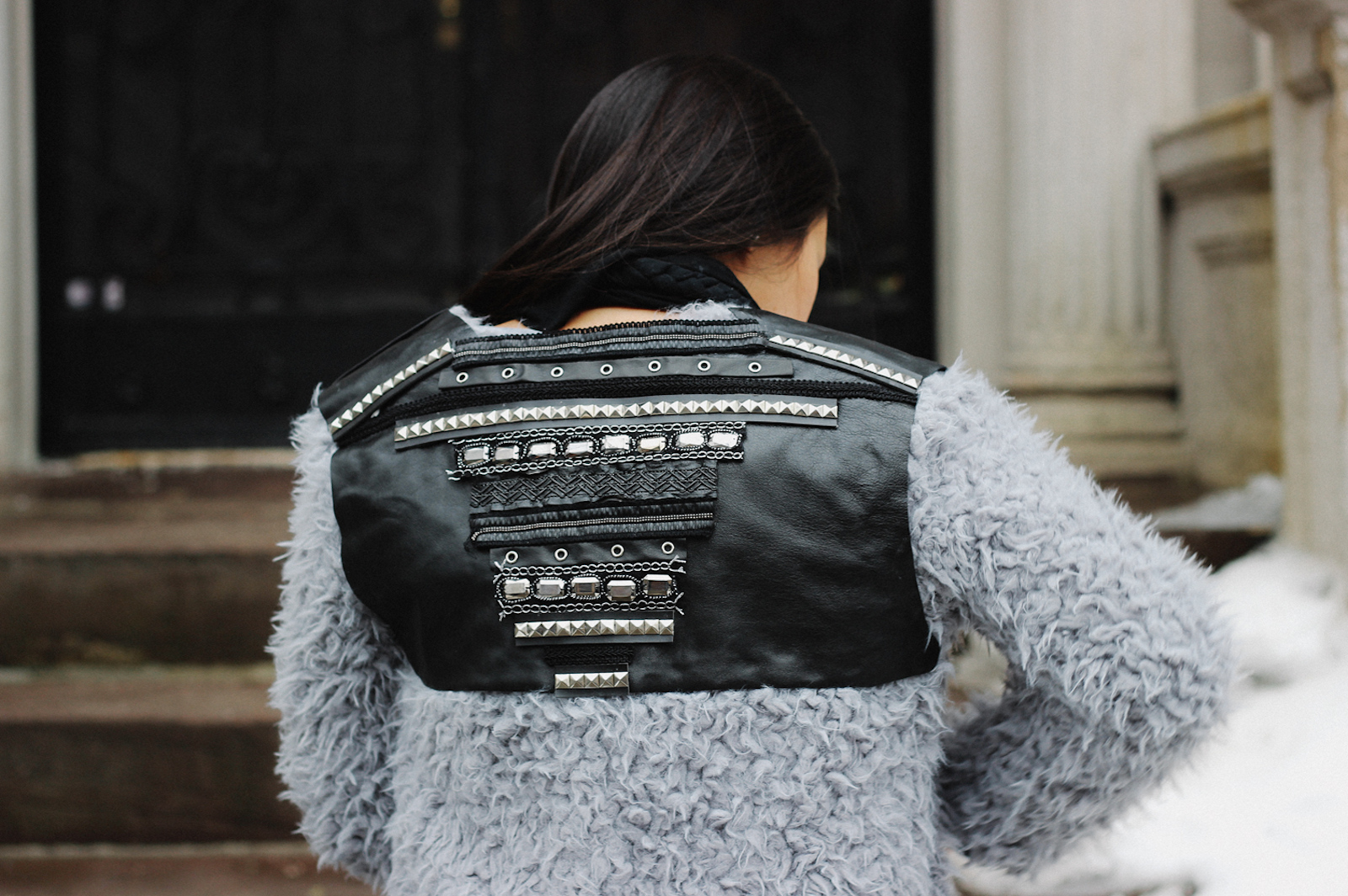 DIY Embellished Faux Fur Jacket