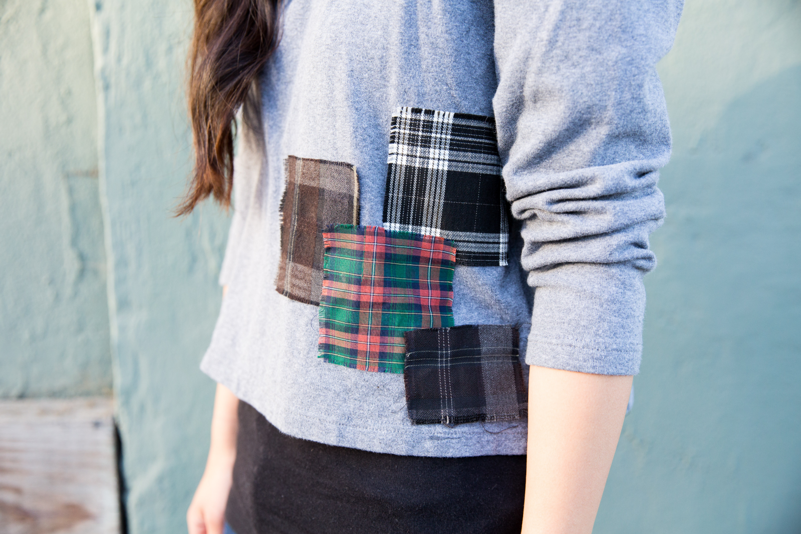 No-Sew Plaid Patchwork Sweatshirt