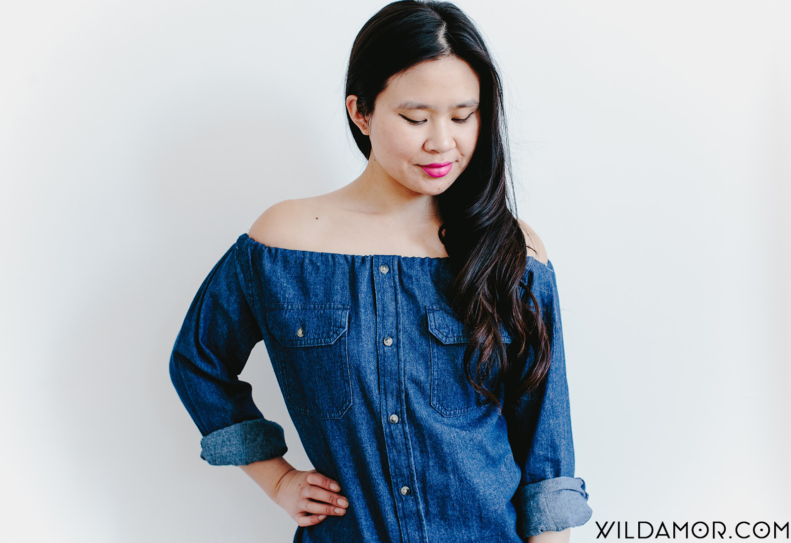 How To Turn A Button Down Into A Diy Off The Shoulder Top