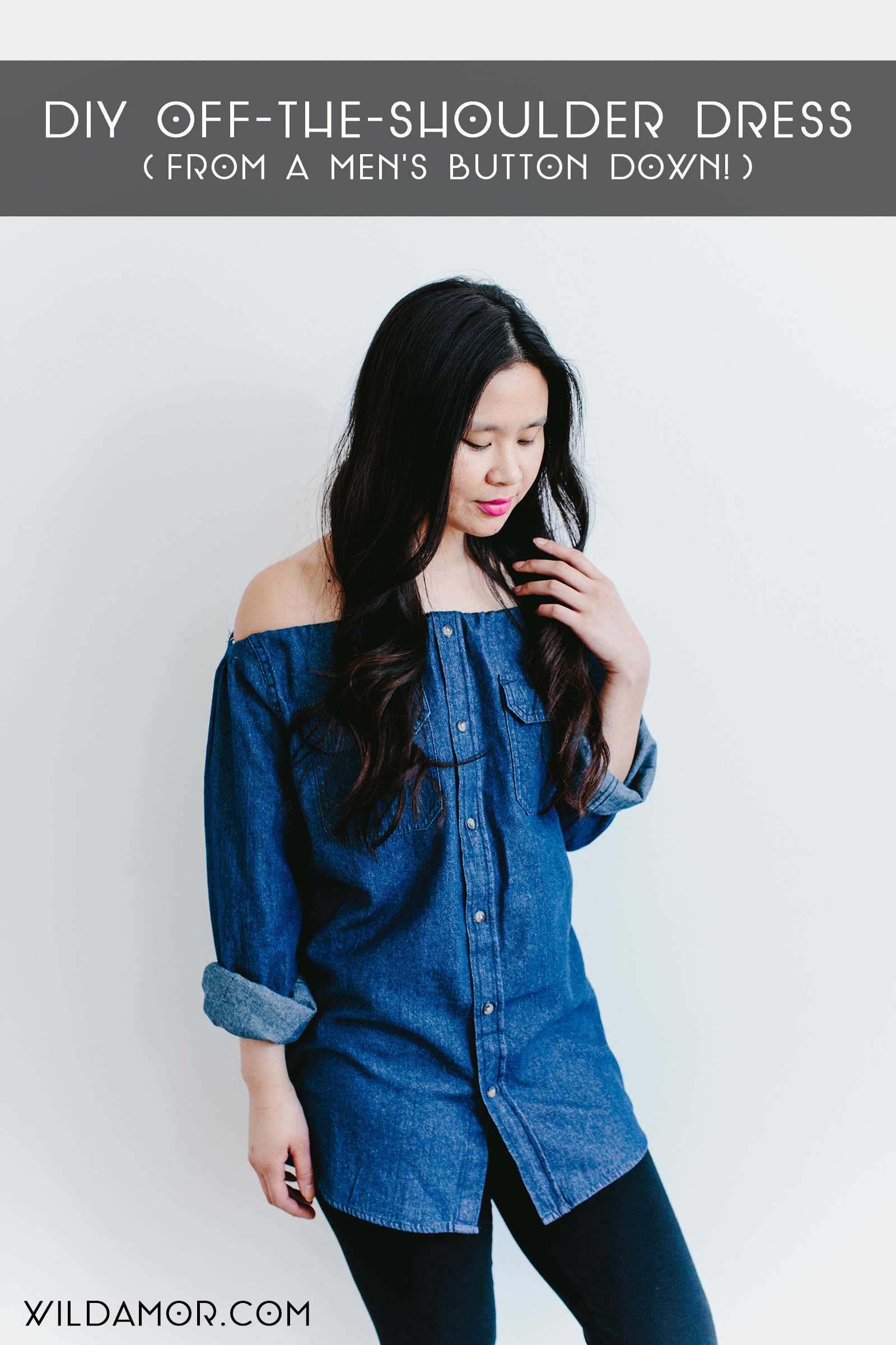 How to Turn a Button-Down Shirt Into a DIY Off-the-Shoulder Top or Dress