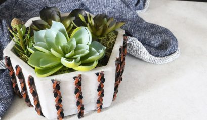 Darice Cement Planter with Braided Suede