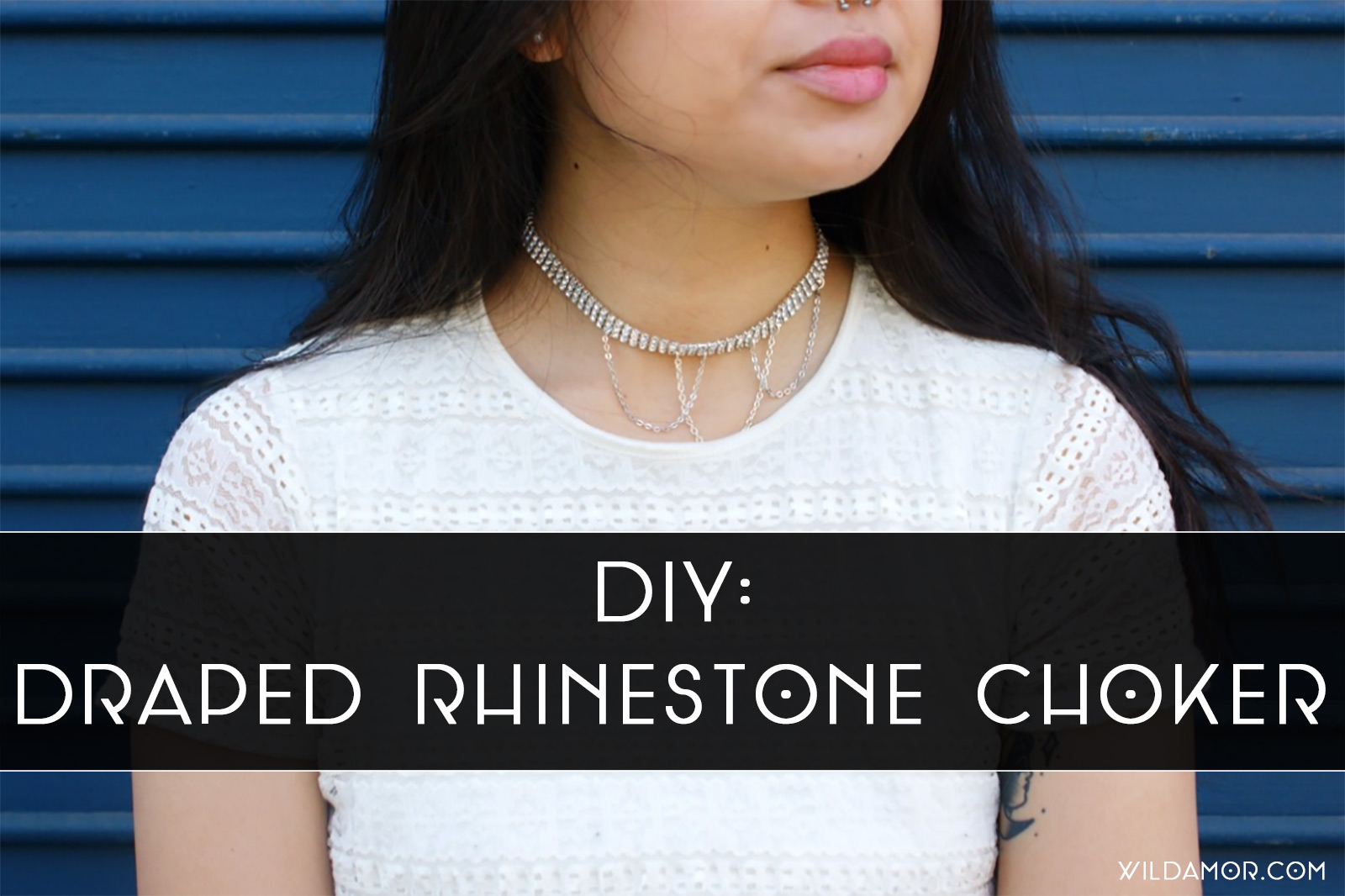 DIY Draped Rhinestone Choker
