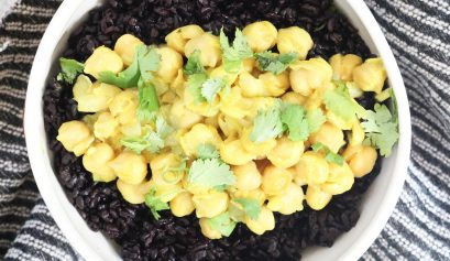 Coconut Turmeric Chickpeas with Black Rice