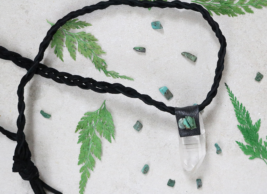 Leather-Wrapped Quartz Necklace DIY
