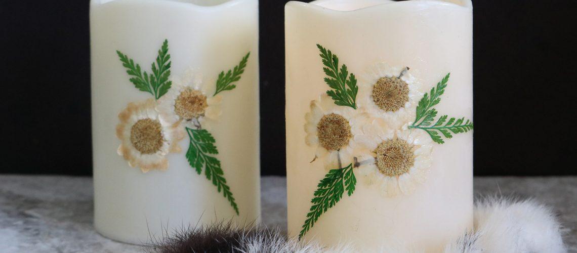 Flameless Floral Candles DIY