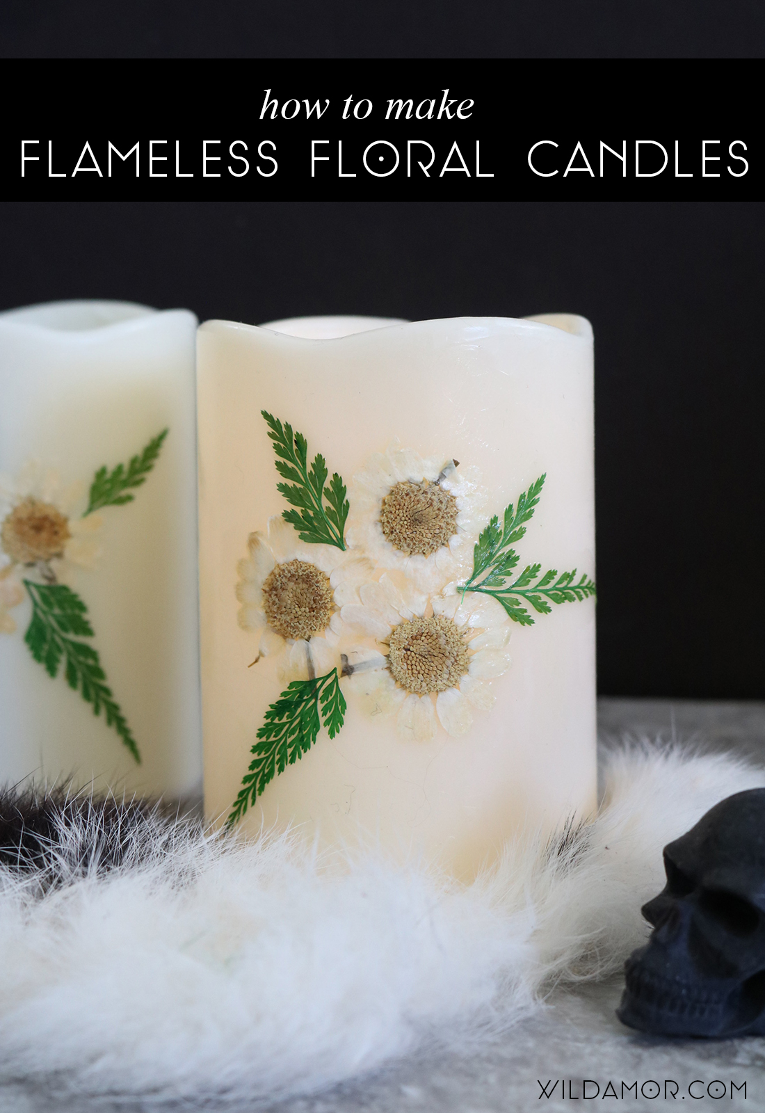 Flameless Floral Candle DIY 07