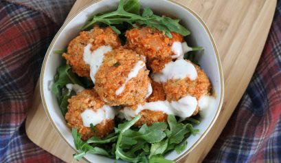 Buffalo Cauliflower Meatballs